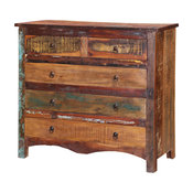 Jamestown Rustic Solid Reclaimed Wood 5 Drawer Bedroom Dresser