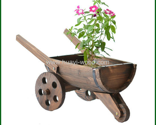 Garden Wagon Planters Antique Flame Burnt Freel Wheel   Outdoor Pots And  Planters