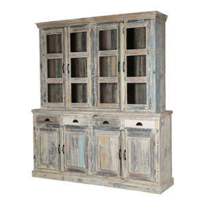 Solid Reclaimed Wood Dining Farmhouse Buffet with Hutch
