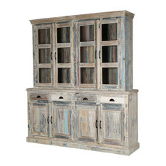 Sierra Living Concepts - Country Kitchen Winter White Reclaimed Wood Breakfront Hutch Sideboard - Buffets and Sideboards