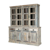Cavea Country Kitchen Winter White Reclaimed Wood Large Kitchen Hutch