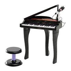 Qaba 37 Key Kids Baby Grand Digital Piano With Microphone and Stool, Black
