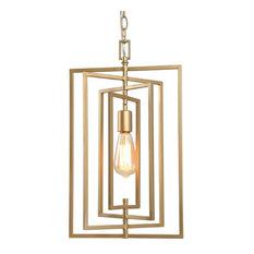 1-Light Gold Square Pendant