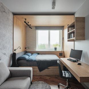 Источник вдохновения для домашнего уюта: детская в современном стиле с серыми стенами, паркетным полом среднего тона и коричневым полом для подростка, мальчика
