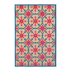 """Costa Floral Lattice Sand and Pink Area Rug, 7'10""""x10'10"""""""