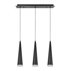 61024 Adjustable LED 3-Light Hanging Pendant Ceiling Light, Matte Black