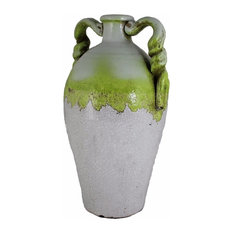 Ceramic Vase, White And Green