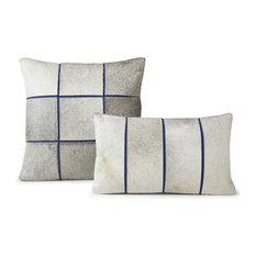 """Cushion Laser Cowhide, Segments 20""""x20"""", Blue"""