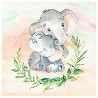 Momma & Baby Elephant Canvas Print