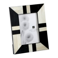 Dimond Black and White 4x6 Horn and Bone Frame, Multicolor