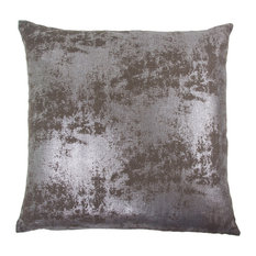 Angela Metallic Cotton Pillow, Chocolate Brown And Silver