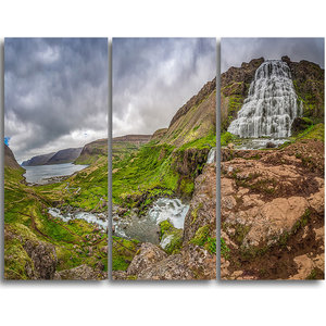 Dyjandi Waterfall Iceland Panorama Wall Art 3 Panels 36 X28 Contemporary Prints And Posters By Design Art Usa Houzz
