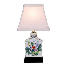 "Floral Style Porcelain Tea Caddy Table Lamp 13"""