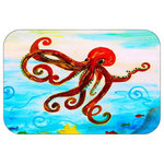 "Mary Gifts By The Beach - Red Octopus Plush Bath Mat, 20""x15"" - Bath mats from my original art and designs. Super soft plush fabric with a non skid backing. Eco friendly water base dyes that will not fade or alter the texture of the fabric. Washable 100 % polyester and mold resistant. Great for the bath room or anywhere in the home. At 1/2 inch thick our mats are softer and more plush than the typical comfort mats.Your toes will love you."