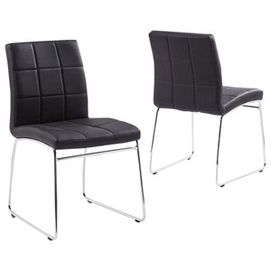 Modern Chairs, Faux Leather Seat With Chrome Plated Legs, Set of 2