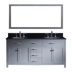 "Caroline 72"" Double Vanity Cabinet Set, Gray, Without Faucet"