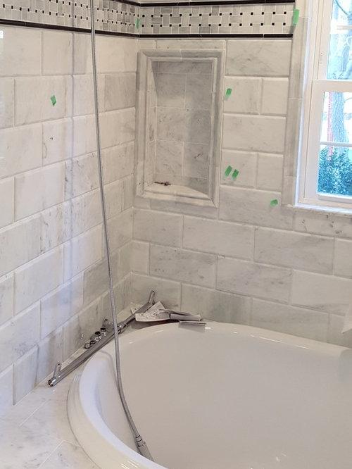 Project 6x12 Wide Bevel Subway Tile Bathroom