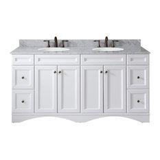 "Talisa Double Bathroom Vanity Set, White, 71"""