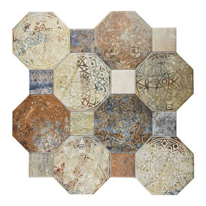 "17.75""x17.75"" Imagina Decor Ceramic Floor and Wall Tiles, Set of 10, Silix"