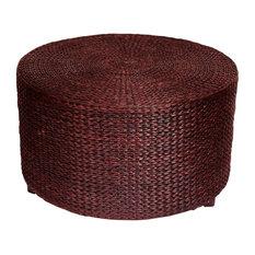 Oriental Furniture   Abundant Woven Rush Grass Coffee Table U0026 Ottoman (Red  Brown)