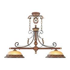 Villa Verona Island Light, Verona Bronze With Aged Gold Leaf Accents