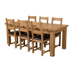 Richmond Oak Extending Dining Table With 6 Lincoln Chairs, Large