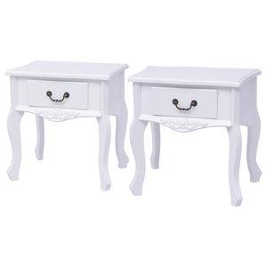 VidaXL Bedside Cabinets, White, Set of 2