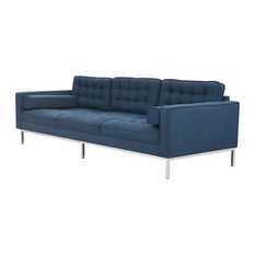 Inspired Home   Nowell Linen Traditional Mid Century Button Tufted Square  Arm Sofa, Blue