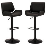Glitzhome,LLC - Set of 2 Mid-century Modern Adjustable Height Swivel Bar Stool - Give your kitchen or dining room a touch-up with these ergonomically-designed stools. Made of strong metal black matte base metal and fitted with a comfortable leatherette-upholstered seat, these stools are designed to swivel to offer great range of motion. Adjustable, air-lift seat and full swivel make this a must-have a set.