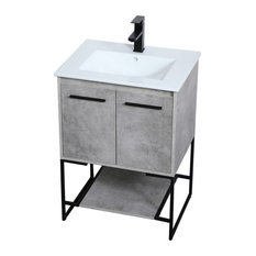 "Elegant Decor Gerard 24"" Single Porcelain Top Bathroom Vanity in Concrete Gray"