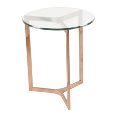 New Pacific Direct Inc. - Monza Round End Table, Rose Gold - Side Tables and End Tables