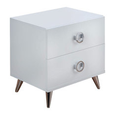 Modern Style Wood and Metal Nightstand, White and Chrome