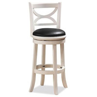 "Boraam Florence 24"" Swivel Counter Stool, Distressed White"
