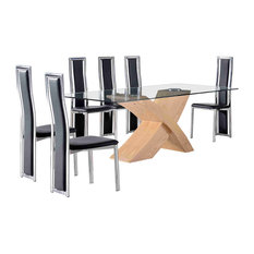 Valencia Glass, Oak Dining Table With 6 Elsa Leather Chairs, Black