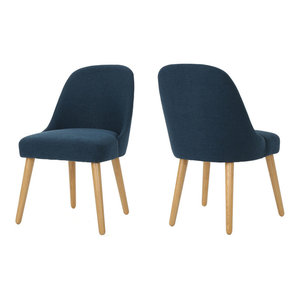 GDF Studio Trimay Mid Century Fabric Dining Chairs, Navy Blue, Set of 2