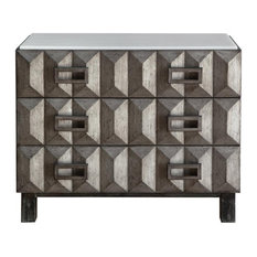 Home Fare Geometric Three Drawer Chest In Gray