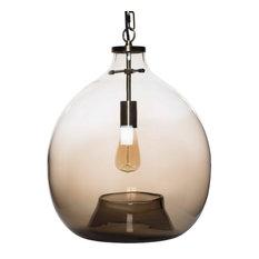 "Pendant Lighting Handblown Glass Contemporary Hanging Light, Mixed, Brown, 17.7"""