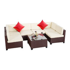 River Source - Rattan Wicker Outdoor Sectional Furniture 7-Piece Set, Brown - Outdoor Lounge Sets