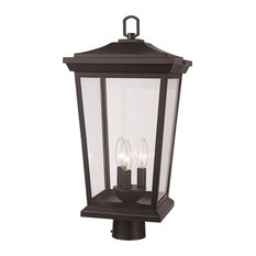 3 Light Postmount Lantern in Black with Clear Glass