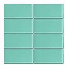 "3""x6"" Glass Subway Tiles, Set of 8, Bermuda Blue"