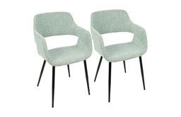 LumiSource Margarite Dining Chair, Light Green, Set of 2