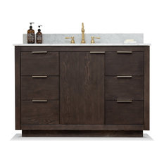 Brady Mid-century Bathroom Vanity with Sink, Carrara Marble Top -  Brown Oak, 48