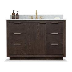 """Brady Mid-century Bathroom Vanity with Sink, Carrara White Top, Brown Oak, 48"""""""