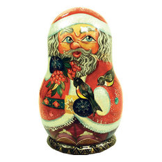 Russian 5 Piece Birdy Santa Nested Doll Set
