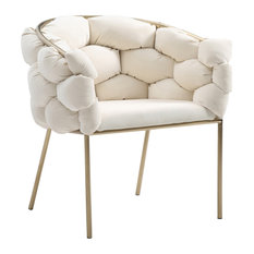 Modrest Debra Modern White Fabric Dining Chair
