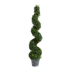 Artificial Spiral Boxwood Topiary Tree Plant, 48""