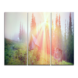 """""""Shepherds Huts in Autumn Forest"""" Photo Wall Art, 3 Panels, 36""""x28"""""""