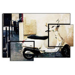 Innovacion Retail Pvt Ltd - Paris Vespa Color, Brookview Studio, Retro Scooter, Paris, Print on Wood - There is no better way to see the sights and sounds of Europe than to zip around on a Vespa scooter. This fantastic Paris art perfectly captures the quaintness of the city streets. The asymmetric faux 3-panel design of this fun wall art is perfect for any room in your home.  Don't forget your helmet!