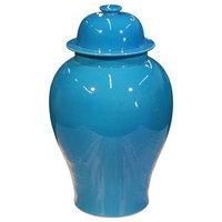 Rosalinda Modern Classic Glazed Turquoise Porcelain Temple Jar