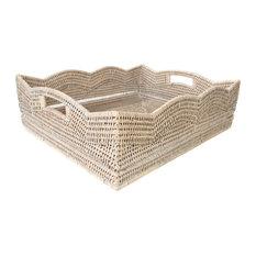 Artifacts Rattan™ Scallop Collection Rectangular Storage Basket, White Wash